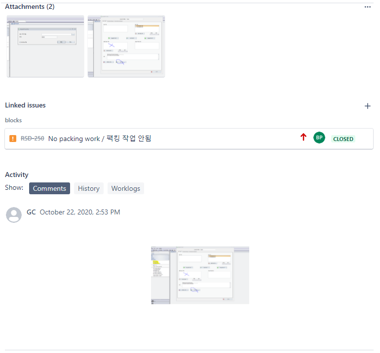 Screenshots in a translated ticket in Jira Service Management