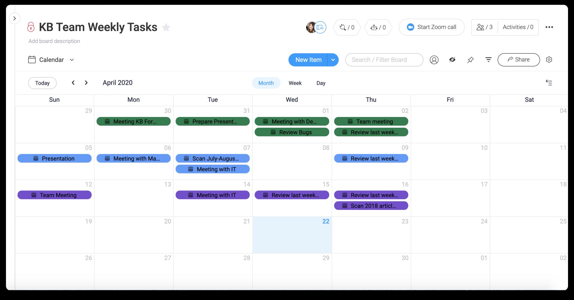 Monday.com calendar view