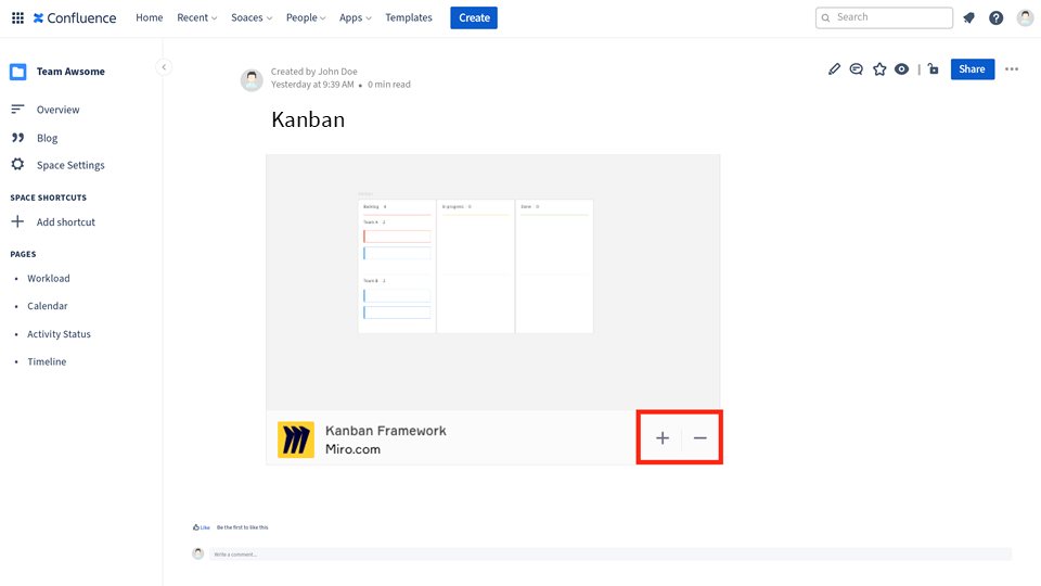 Kanban board read only view miro in Confluence