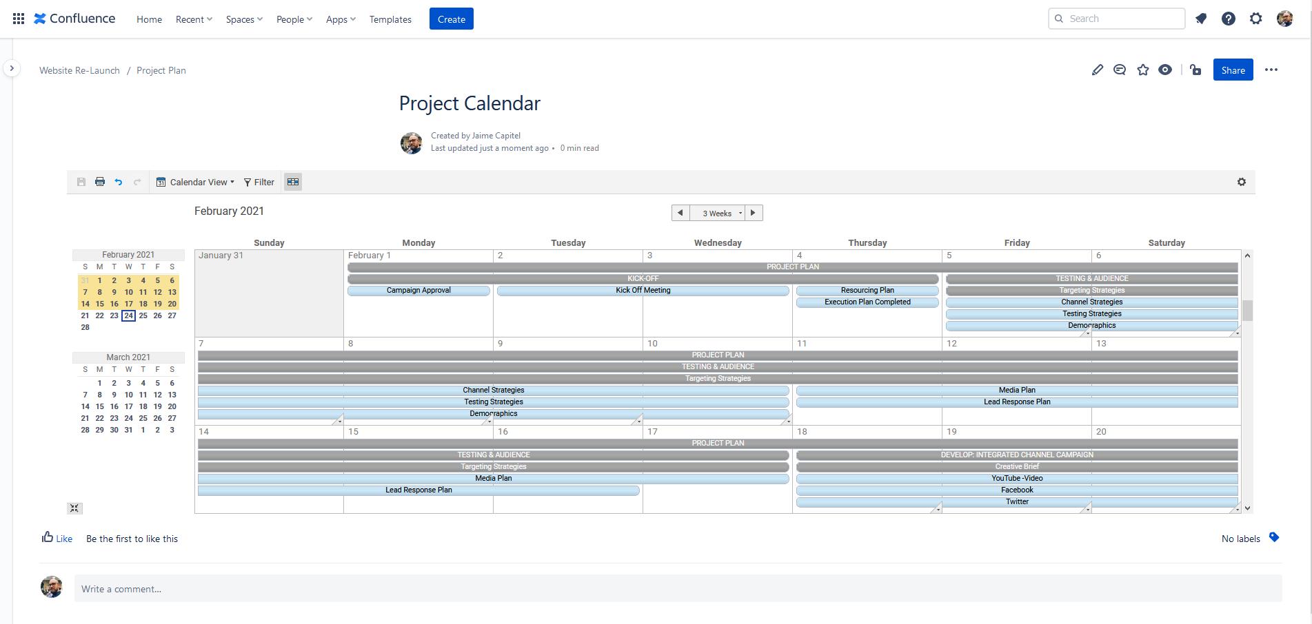 Smartsheet calendar view embedded in Confluence