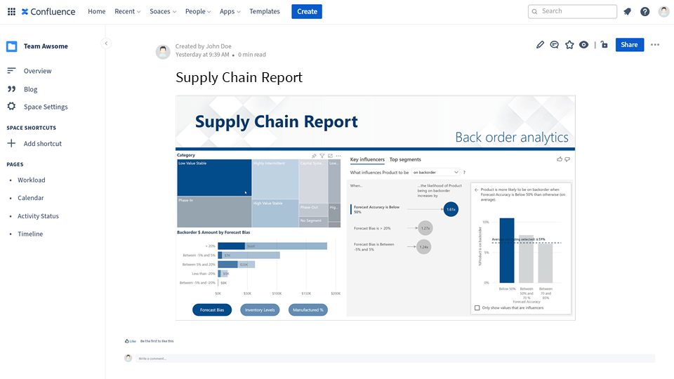 Supply Chain Report with Big Data embedded in Confluence
