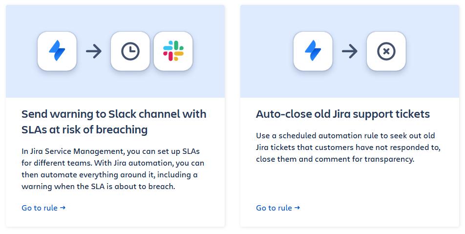 Jira Service Desk automation templates