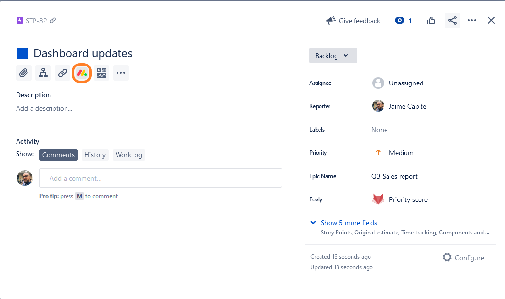 monday.com embed integration in Jira