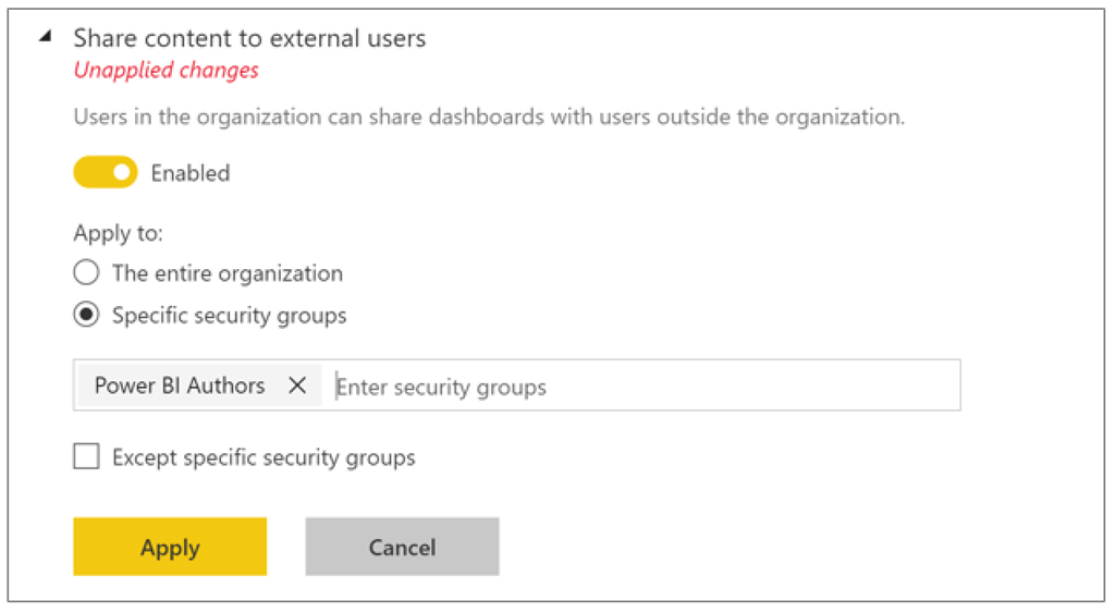 sharing options in Power BI