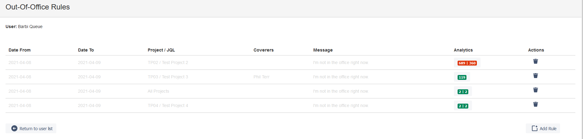 Out of Office rules for a specific Jira user