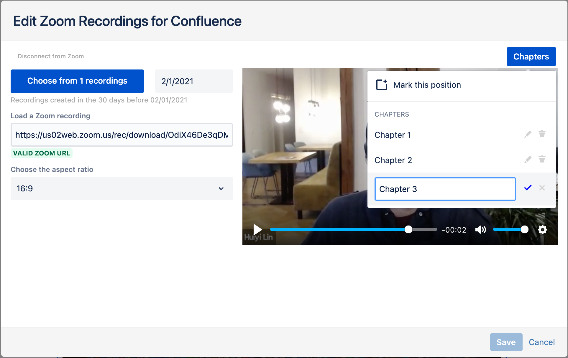Adding Chapters in the Embed Zoom Recordings for Confluence Macro