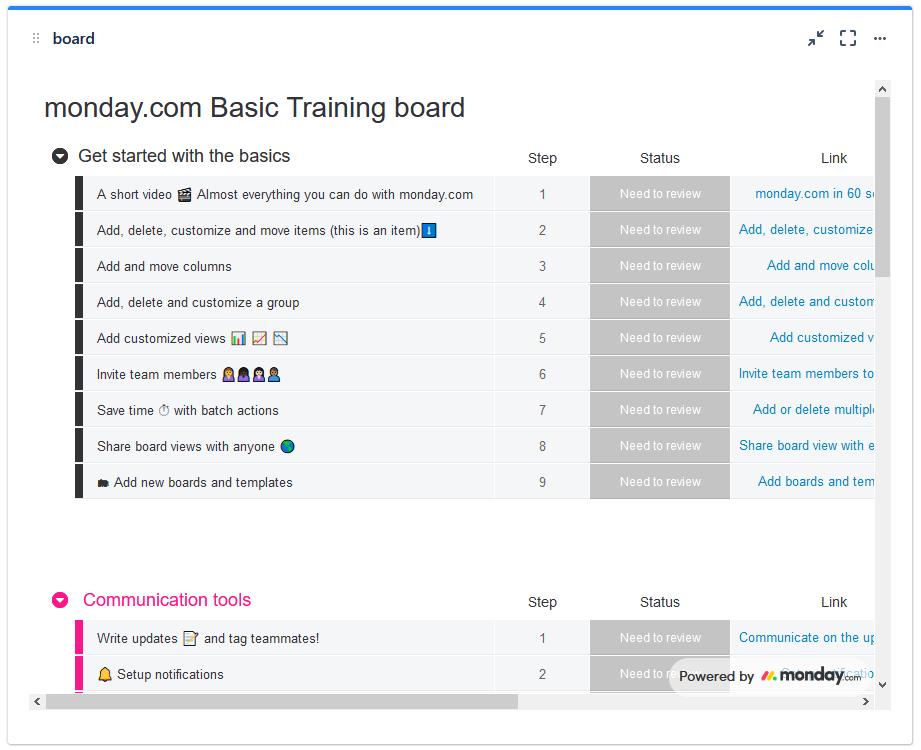 monday,com board gadget in a Jira cloud dashboard
