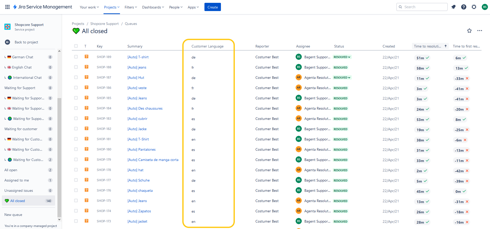 Jira Service Desk queue with automated language detection
