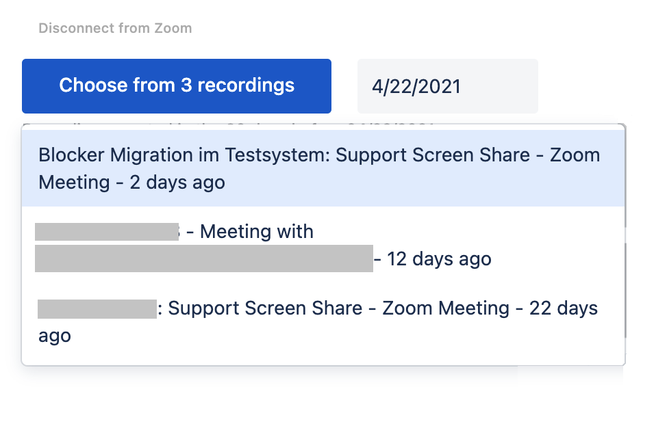 choosing a Zoom recording to embed in Confluence