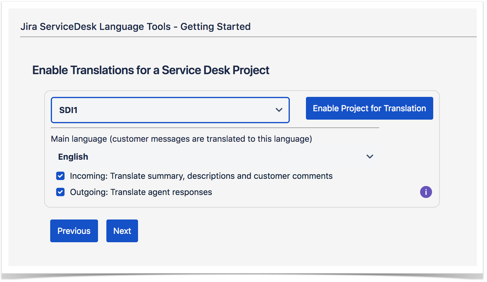 screen to enable automatic translations in Jira Service Desk projects